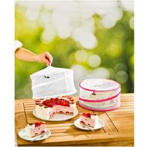 Blancheporte 2 ochranné poklopy na jedlo, biela + fuksia biela+fuksia