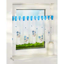 "Blancheporte Krátka záclona ""Kvety"", modrá modrá"