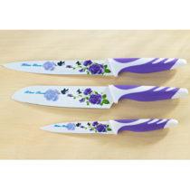 Blancheporte 3-dielna súprava nožov, lila-biela fialová-biela