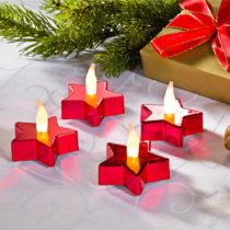Blancheporte 2 LED čajové sviečky  Hviezdy , červená červená