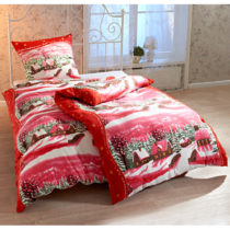 """Blancheporte Posteľná bielizeň na jednolôžko """"Zimná dedina"""", červená červená 80x80cm a 135..."""