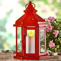 Blancheporte Lampáš s LED sviečkou, červená