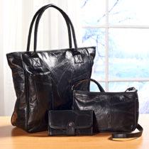 Blancheporte 3-dielna kožená súprava, čierna čierna