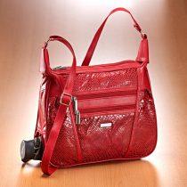 Magnet 3Pagen Patchworková kabelka so vzorom hadej kože červená