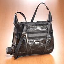 Magnet 3Pagen Patchworková kabelka so vzorom hadej kože čierna