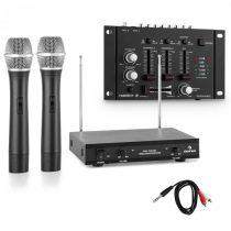 Electronic-Star Sada bezdrôtových mikrofónov s 3-kanálovým zosilňovačom, čierna