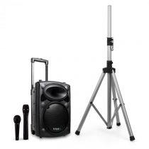 Ibiza Port8VHF-BT mobilný PA reproduktor, bluetooth, USB, SD, 200W RMS, s reproduktorovým stojanom