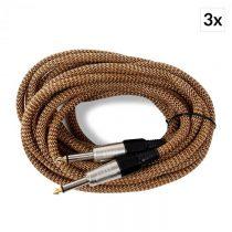 FrontStage 6,3 mm jackový kábel, zlato-čierny, sada 3 ks, 6 m, mono, textilný plášť