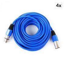 FrontStage XLR, modrá, sada štyroch XLR káblov, 10 m, samec na samica