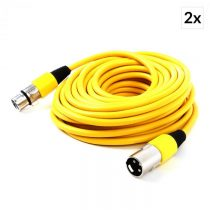 FrontStage Sada XLR káblov, 2 ks, 10 m, samček - samička, žltá farba