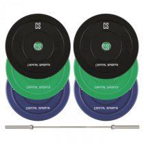 Capital Sports Nipton Mens Set II, olympijská tyč, 3 páry závaží, 5, 10 a 20 kg
