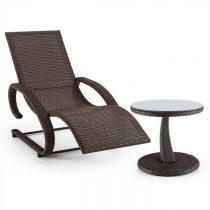 Blumfeldt Daybreak, set záhradného nábytku, hojdacie ležadlo + stôl, optika pleteného koša, hnedý