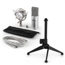 Auna MIC-900S V1, USB mikrofónová sada, strieborný kondenzátorový mikrofón + stolný statív