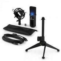 Auna MIC-900B-LED V1, USB mikrofónová sada, čierny kondenzátorový mikrofón + stolný statív