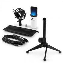 Auna MIC-900WH-LED V1, USB mikrofónová sada, biely kondenzátorový mikrofón + stolný statív