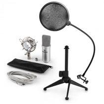 Auna MIC-900S V2, USB mikrofónová sada, kondenzátorový mikrofón + pop-filter + stolný statív