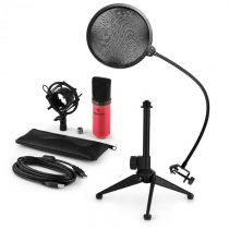 Auna MIC-900RD-LED V2, trojdielna USB mikrofónová sada, kondenzátorový mikrofón + pop-filter + stoln...