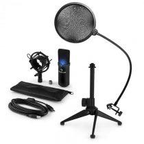 Auna MIC-900B-LED V2, trojdielna USB mikrofónová sada, kondenzátorový mikrofón + pop-filter + stolný...