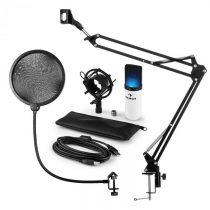 Auna MIC-900WH-LED, USB mikrofónová sada V4, biela, kondenzátorový mikrofón, pop filter, mikrofónové...