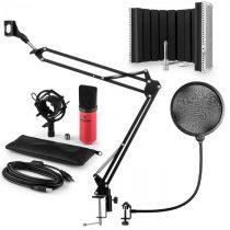 Auna MIC-900RD USB mikrofónová sada V5, červená, kondenzátorový mikrofón, pop filter, akustická clon...