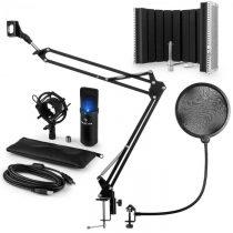 Auna MIC-900B-LED USB mikrofónová sada V5, čierna, kondenzátorový mikrofón, pop filter, akustická cl...