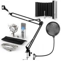 Auna MIC-900S-LED, USB mikrofónová sada V5, strieborná, kondenzátorový mikrofón, pop filter, akustic...