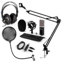 Auna CM003 mikrofónová sada V4, čierna, kondenzátorový mikrofón, USB konvertor, slúchadlá, mikrofóno...