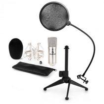 Auna CM001S mikrofónová sada V2 - kondenzátorový mikrofón, mikrofónový stojan, pop filter, strieborn...