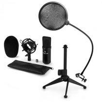 Auna CM001B mikrofónová sada V2 - kondenzátorový mikrofón, mikrofónový stojan, pop filter, čierna fa...