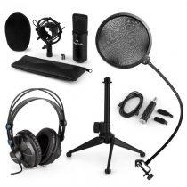 Auna CM001B V2, mikrofónová sada, slúchadlá + kondenzátorový mikrofón spop-filtrom aUSB adaptérom ...