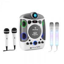 Auna Set: karaoke systém Kara Projectura, biely + dva mikrofóny Kara Dazzl, LED podsvietenie
