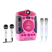 Auna Kara Projectura pink + Dazzl Mic Set karaoke zariadenie, mikrofón, LED osvetlenie