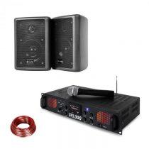 Skytec SPL 300 VHF, PA zosilňovač, 2 reproduktory, reproduktorový kábel, čierna