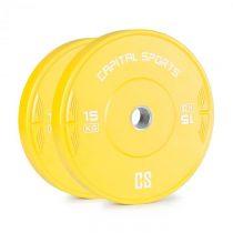 Capital Sports Nipton 15, kotúč, závažie, 1 x 15kg, tvrdená guma, žltý