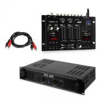 Skytec SPL400, sada s PA zosilňovačom a mixážnym pultom Resident DJ 22 BT 2CH, čierny