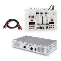 Skytec SPL400, sada s PA zosilňovačom a mixážnym pultom Resident DJ 22 BT 2CH, biely