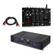 Skytec SPL700EQ, sada PA zosilňovač, mixážny pult Resident DJ 22BT 2CH