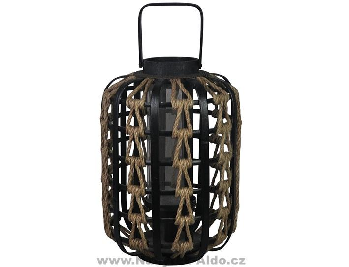 Záhradný lampión odolá aj poveternostným vplyvom, kov-lano, cena: 33,06 EUR